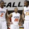 OSU\'s Byron Eaton, center, Obi Muonelo, and James Anderson react during the Big 12 college basketball game between Oklahoma State and Missouri at Gallagher-Iba Arena in Stillwater, Okla., Wednesday, Jan. 21, 2009. PHOTO BY BRYAN TERRY, THE OKLAHOMAN