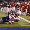 Oklahoma\'s Dominique Whaley (8) is brought down short of the goal by Kansas\' Darius Willis (2) during the college football game between the University of Oklahoma Sooners (OU) and the University of Kansas Jayhawks (KU) at Memorial Stadium in Lawrence, Kansas, Saturday, Oct. 15, 2011. Photo by Bryan Terry, The Oklahoman
