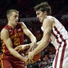 Matt Thomas (21) and Ryan Spangler fight for a rebound as the University of Oklahoma Sooners (OU) men play the Iowa State Cyclones (ISU) in NCAA, college basketball at The Lloyd Noble Center on Saturday, Jan. 11, 2014 in Norman, Okla. Photo by Steve Sisney, The Oklahoman