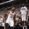 Oklahoma City\'s Kevin Durant (35) celebrates a 3-pointer by Daequan Cook (14) during game five of the Western Conference semifinals between the Memphis Grizzlies and the Oklahoma City Thunder in the NBA basketball playoffs at Oklahoma City Arena in Oklahoma City, Wednesday, May 11, 2011. Photo by Sarah Phipps, The Oklahoman