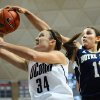 Photo - Notre Dame's Natalie Achonwa, right, blocks a shot by Connecticut's Kelly Faris during the first half of an NCAA college basketball game in Storrs, Conn., Saturday, Jan. 5, 2013. (AP Photo/Jessica Hill)