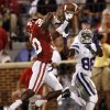 Oklahoma\'s Javon Harris (30) breaks up a pass for Kansas State\'s Tramaine Thompson (86) during the college football game between the University of Oklahoma Sooners (OU) and the Kansas State University Wildcats (KSU) at the Gaylord Family-Memorial Stadium on Saturday, Sept. 22, 2012, in Norman, Okla. Photo by Chris Landsberger, The Oklahoman