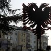 An installation of a two headed black eagle, the symbol of Albania, is placed near a street in Macedonia\'s capital Skopje, on Saturday, Nov.24, 2012. Macedonian capital Skopje, particularly the parts populated with ethnic Albanians, are flooded with Albanian flags, in the eve of the celebration of 100 years of Albania\'s independence and the national flag. Ethnic Albanians make up a quarter of Macedonia\'s 2.1 million people and are the largest ethnic minority in the country. (AP Photo/Boris Grdanoski)