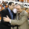 Photo - OU head coach Kelvin Sampson, left, and OSU head coach Eddie Sutton meet at halfcourt prior to the beginning of the Oklahoma State University vs University of Oklahoma bedlam series college basketball game at Gallagher-Iba Arena in Stillwater, Okla., Wednesday, February 8, 2006. By Matt Strasen,The Oklahoman