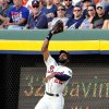 Photo - Atlanta Braves right fielder Jason Heyward fields a fly ball from Los Angeles Angels' David Freese for an out during the third inning of a baseball game on Saturday, June 14, 2014, in Atlanta. (AP Photo/David Tulis)