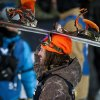 Danny Davis reacts after winning gold in the Men\'s Snowboard SuperPipe finals at the 18th edition of the Winter X Games in Aspen, Colo. Sunday, Jan. 26, 2014. (AP Photo/ The Gazette, Michael Ciaglo)