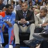 Oklahoma City Thunder shooting guard Thabo Sefolosha (2) sits on the bench with Oklahoma City Thunder point guard Eric Maynor (6) and Oklahoma City Thunder point guard Royal Ivey (7) during the NBA basketball game between the Oklahoma City Thunder and the Phoenix Suns at the Chesapeake Energy Arena on Wednesday, March 7, 2012 in Oklahoma City, Okla. Photo by Chris Landsberger, The Oklahoman