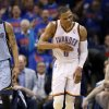 Oklahoma City\'s Russell Westbrook (0) celebrates a 3-pointer between Memphis\' Courtney Lee (5) and coach David Joerger during Game 7 in the first round of the NBA playoffs between the Oklahoma City Thunder and the Memphis Grizzlies at Chesapeake Energy Arena in Oklahoma City, Saturday, May 3, 2014. Photo by Nate Billings, The Oklahoman