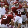 Oklahoma\'s Jimmy Stevens (17) kicks a field goal during the first half of the college football game between the University of Oklahoma Sooners (OU) and the Air Force Falcons at the Gaylord Family - Memorial Stadium on Saturday, Sept. 18, 2010, in Norman, Okla. Photo by Chris Landsberger, The Oklahoman