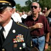 Veterans Robert Prest, Bill McKibben and William Hill (From left to Right) salute the flag during the National Anthem during the 45th Infantry Division Museum Memorial Day Ceremony outside the museum in Oklahoma City on Monday, May 25, 2009. Photo by John Clanton, The Oklahoman