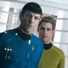 This undated publicity film image released by Paramount Pictures shows, Zachary Quinto, left, as Spock and Chris Pine as Kirk in a scene in the movie,