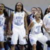 North Carolina\'s Erika Johnson, from left, Danielle Butts, Latifah Coleman and Whitney Adams react after guard Megan Buckland scored a 3-point basket during the first half of a second-round game against Delaware in the women\'s NCAA college basketball tournament in Newark, Del., Tuesday, March 26, 2013. (AP Photo/Patrick Semansky)