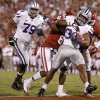 Kansas State\'s John Hubert (33) scores a touchdown as Oklahoma\'s Demontre Hurst (6) tries to bring him down during a college football game between the University of Oklahoma Sooners (OU) and the Kansas State University Wildcats (KSU) at Gaylord Family-Oklahoma Memorial Stadium, Saturday, September 22, 2012. Oklahoma lost 24-19. Photo by Bryan Terry, The Oklahoman