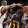 Oklahoma City\'s Russell Westbrook defends C.J. Watson of Golden State in the second half during the NBA basketball game between the Golden State Warriors and the Oklahoma City Thunder at the Ford Center in Oklahoma City, Monday, December 8, 2008. Golden State won, 112-102. BY NATE BILLINGS, THE OKLAHOMAN
