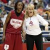 OU\'s Danielle Robinson, left, and coach Sherri Coale talk during practice for the Final Four of the NCAA women\'s basketball tournament at the Alamodome in San Antonio, Texas., on Saturday, April 3, 2010. The University of Oklahoma will play Stanford on Sunday, April 4, 2010. Photo by Bryan Terry, The Oklahoman