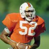 Photo - FILE - In this Sept. 21, 1993, file photo, Miami Hurricanes middle linebacker Ray Lewis is shown during NCAA college football practice at the University of Miami in Coral Gables, Fla. University of Miami President Donna Shalala would prefer Hurricane athletes get their degrees before leaving school, taking advantage of the scholarships they've been afforded. Lewis played his college football at Miami. But his degree is from Maryland University College. (AP Photo/Lynne Sladky, File)