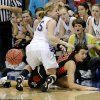 Okarche\'s Madi Grellner (15) Sterling\'s Shelbi Smith (20) battle for the loose ball during the Class A girls state quarterfinal game between Okarche and Sterling at Oklahoma City University on Thursday, Feb. 28, 2013, in Oklahoma City, Okla. Photo by Chris Landsberger, The Oklahoman