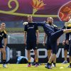 Photo -   Swedish players control the ball during a training session on the Koncha Zaspa Training Centre near of Kiev, Ukraine, Friday, June 8, 2012.The Sweden team will be based in the capital of Ukraine for the Euro 2012 soccer championships. (AP Photo/Sergei Grits)