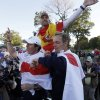 Europe\'s Rory McIlroy, Sergio Garcia and Luke Donald celebrate after winning the Ryder Cup PGA golf tournament Sunday, Sept. 30, 2012, at the Medinah Country Club in Medinah, Ill. (AP Photo/David J. Phillip) ORG XMIT: PGA228