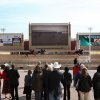 Photo - Crowds watch the debut of new high-definition video boards Thursday at Remington Park.