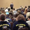 Photo -  A crowd listens to Braden Hague, of Edmond, during the public speaking competition on Tuesday at the state FFA convention. Photo by David McDaniel, The Oklahoman  <strong>David McDaniel -   </strong>