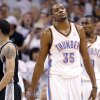 Oklahoma City\'s Kevin Durant (35) reacts after a foul during Game 6 of the Western Conference Finals between the Oklahoma City Thunder and the San Antonio Spurs in the NBA playoffs at the Chesapeake Energy Arena in Oklahoma City, Wednesday, June 6, 2012. Photo by Chris Landsberger, The Oklahoman