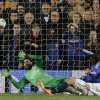Photo - Chelsea's Demba Ba, in blue right, score his sides second goal of the game  during the Champions League quarterfinal second leg soccer match between Chelsea and Paris Saint Germain at Stamford Bridge stadium in London, Tuesday, April 8, 2014. (AP Photo/Matt Dunham).