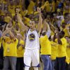 Golden State Warriors\' Stephen Curry celebrates at the end of Game 6 in a first-round NBA basketball playoff series against the Denver Nuggets on Thursday, May 2, 2013, in Oakland, Calif. The Warriors won 92-88. (AP Photo/Ben Margot)