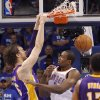 Los Angeles\' Pau Gasol dunks over Oklahoma City\'s Serge Ibaka during Game 2 in the second round of the NBA playoffs between the Oklahoma City Thunder and the L.A. Lakers at Chesapeake Energy Arena on Wednesday, May 16, 2012, in Oklahoma City, Oklahoma. Photo by Chris Landsberger, The Oklahoman