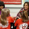 First lady Michelle Obama and Food Network chef Rachel Ray discuss the lunches students from the Eastside and Northside Elementary Schools receive