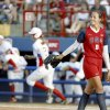 USA\'s Cat Osterman looks back after giving up a home run in the fourth inning against the National Pro Fastpitch softball team at ASA Hall of Fame Stadium in Oklahoma City, Friday, June 6, 2008. BY BRYAN TERRY, THE OKLAHOMAN