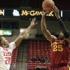 Photo - Iowa State's Tyrus McGee (25) shoots a 3-pointer over Texas Tech's Toddrick Gotcher during their NCAA college basketball game, Wednesday, Jan. 23, 2013, in Lubbock, Texas. (AP Photo/The Avalanche-Journal, Stephen Spillman) ALL LOCAL TV OUT
