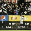 Detroit Tigers\' Avisail Garcia tries to catch the home run of New York Yankees\' Raul Ibanez in the ninth inning of Game 1 of the American League championship series Saturday, Oct. 13, 2012, in New York. (AP Photo/Matt Slocum)