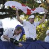 Europe\'s Ian Poulter celebrates after winning the Ryder Cup PGA golf tournament Sunday, Sept. 30, 2012, at the Medinah Country Club in Medinah, Ill. (AP Photo/David J. Phillip) ORG XMIT: PGA223