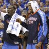 Oklahoma City\'s Kendrick Perkins and Kevin Durant react during game 2 of the Western Conference Finals in the NBA basketball playoffs between the Dallas Mavericks and the Oklahoma City Thunder at American Airlines Center in Dallas, Thursday, May 19, 2011. Photo by Bryan Terry, The Oklahoman
