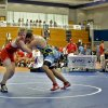 Miles Hammerlund, of Minnesota, takes on Dennis Atyeh, of Pennsylvainia in the 285-pound match during the Junior National Duals at Oklahoma City University in Oklahoma City, Okla. Wednesday, June 27, 2012. Photo by Chris Landsberger, The Oklahoman