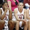 Courtney Paris, Carlee Roethlisberger and Whitney Hand watch the final seconds from the bench in their 62-74 loss in the 2009 Big 12 Women\'s Basketball Championship game between the University of Oklahoma (OU) and Texas A&M Aggies in the Cox Convention Center in Oklahoma City, Oklahoma, on Saturday, March 14, 2009. PHOTO BY STEVE SISNEY, THE OKLAHOMAN