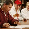 Beau Blankenship\'s father Charlie signs his part of a letter of intent for Beau to play college football at Iowa State University as mother Cynthia watches at Norman North High School in Norman, Okla. on Wednesday, Feb. 4, 2009. Photo by Steve Sisney, The Oklahoman