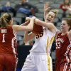 Iowa State\'s Anna Prins (55) fights for the ball with Oklahoma\'s Nicole Kornet (1) and Joanna McFarland (53) during the Big 12 tournament women\'s college basketball game between the University of Oklahoma and Iowa State University at American Airlines Arena in Dallas, Sunday, March 10, 2012. Oklahoma lost 79-60. Photo by Bryan Terry, The Oklahoman
