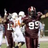 Troy\'s Boris Lee (2) and Dion Gales celebrete after a turnover in the second half during the college football game between the Troy University Trojans and the Oklahoma State University Cowboys at Movie Gallery Veterans Stadium in Troy, Ala., Friday, September 14, 2007. BY MATT STRASEN, THE OKLAHOMAN
