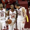 Oklahoma Sooner\'s Buddy Hield (24) and Ryan Spangler talk in the final minute after Hield is fouled on the inbounds play as the University of Oklahoma Sooners (OU) men defeat the Iowa State Cyclones (ISU) 87-82 in NCAA, college basketball at The Lloyd Noble Center on Saturday, Jan. 11, 2014 in Norman, Okla. Photo by Steve Sisney, The Oklahoman
