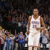 The crowd reacts after Oklahoma City\'s Kevin Durant (35) hit a three-point basket giving the Thunder the lead in the final sends of regulation during an NBA basketball game between the Oklahoma City Thunder and the Minnesota Timberwolves at Chesapeake Energy Arena in Oklahoma City, Friday, March 23, 2012. Photo by Bryan Terry, The Oklahoman
