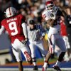 Oklahoma\'s Ryan Broyles (85) pulls in a pass in front of Stanford\'s Richard Sherman (9) the catch was ruled incomplete during the second half of the Brut Sun Bowl college football game between the University of Oklahoma Sooners (OU) and the Stanford University Cardinal on Thursday, Dec. 31, 2009, in El Paso, Tex. Photo by Chris Landsberger, The Oklahoman