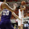 OSU\'s Tiffany Bias (3) takes a shot during the Women\'s NIT championship college basketball game between Oklahoma State University and James Madison at Gallagher-Iba Arena in Stillwater, Okla., Saturday, March 31, 2012. OSU won, 75-68. Photo by Nate Billings, The Oklahoman