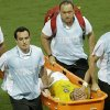 Photo - Brazil's Neymar is carried off the pitch after suffering an injury during the World Cup quarterfinal soccer match between Brazil and Colombia at the Arena Castelao in Fortaleza, Brazil, Friday, July 4, 2014. (AP Photo/Themba Hadebe)