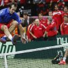 Czech Republic\'s Radek Stepanek celebrates by jumping over the net after defeating Spain\'s Nicolas Almagro in their Davis Cup finals tennis singles match in Prague, Czech Republic, Sunday, Nov. 18, 2012. Czech Republic defeated Spain 3-2 and gained the Davis Cup trophy. (AP Photo/Petr David Josek)