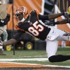 Cincinnati Bengals wide receiver Armon Binns (85) just misses catching a pass in the end zone against Green Bay Packers defensive back Jarrett Bush during the first half of an NFL preseason football game, Thursday, Aug. 23, 2012, in Cincinnati. (AP Photo/David Kohl)
