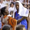 Oklahoma City\'s Kevin Durant talks with his mother Wanda Pratt near the end of Game 5 of the NBA Finals between the Oklahoma City Thunder and the Miami Heat at American Airlines Arena, Thursday, June 21, 2012. Oklahoma City lost 121-106. Photo by Bryan Terry, The Oklahoman
