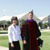 Darla and John deSteiguer walked across campus to the Inauguration Ceremony. (Photo provided).