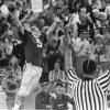 Steve Davis celebrates after one of his three touchdowns during the Sooners\' 1973 game vs. Nebraska. PHOTO BY HANK MOONEY, The Oklahoman Archives